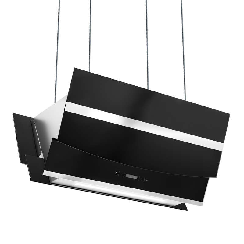Dunstabzugshaube 90cm kopffrei Smart App RGBW Beleuchtung Touch LED-Anzeige